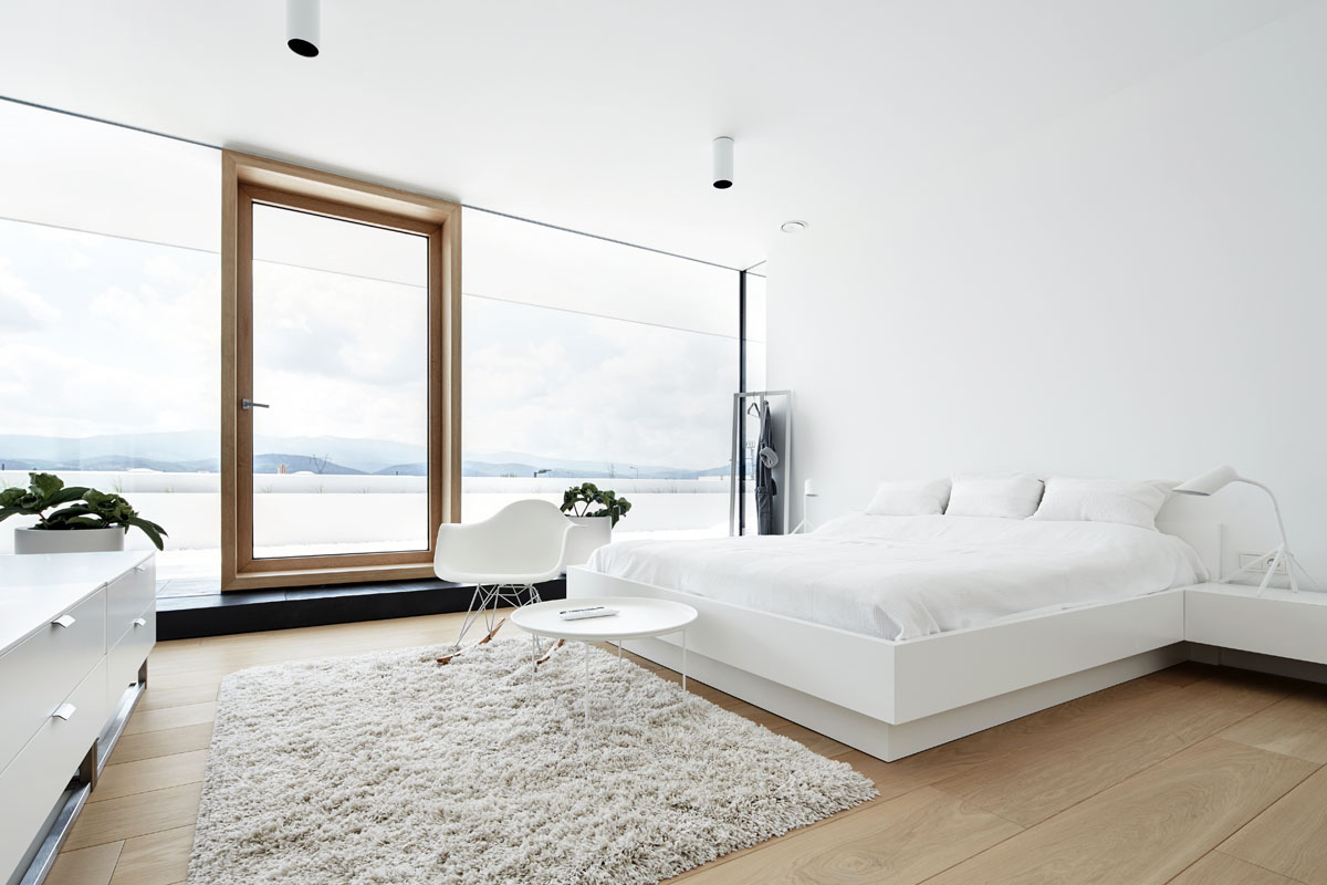 pure white bedroom