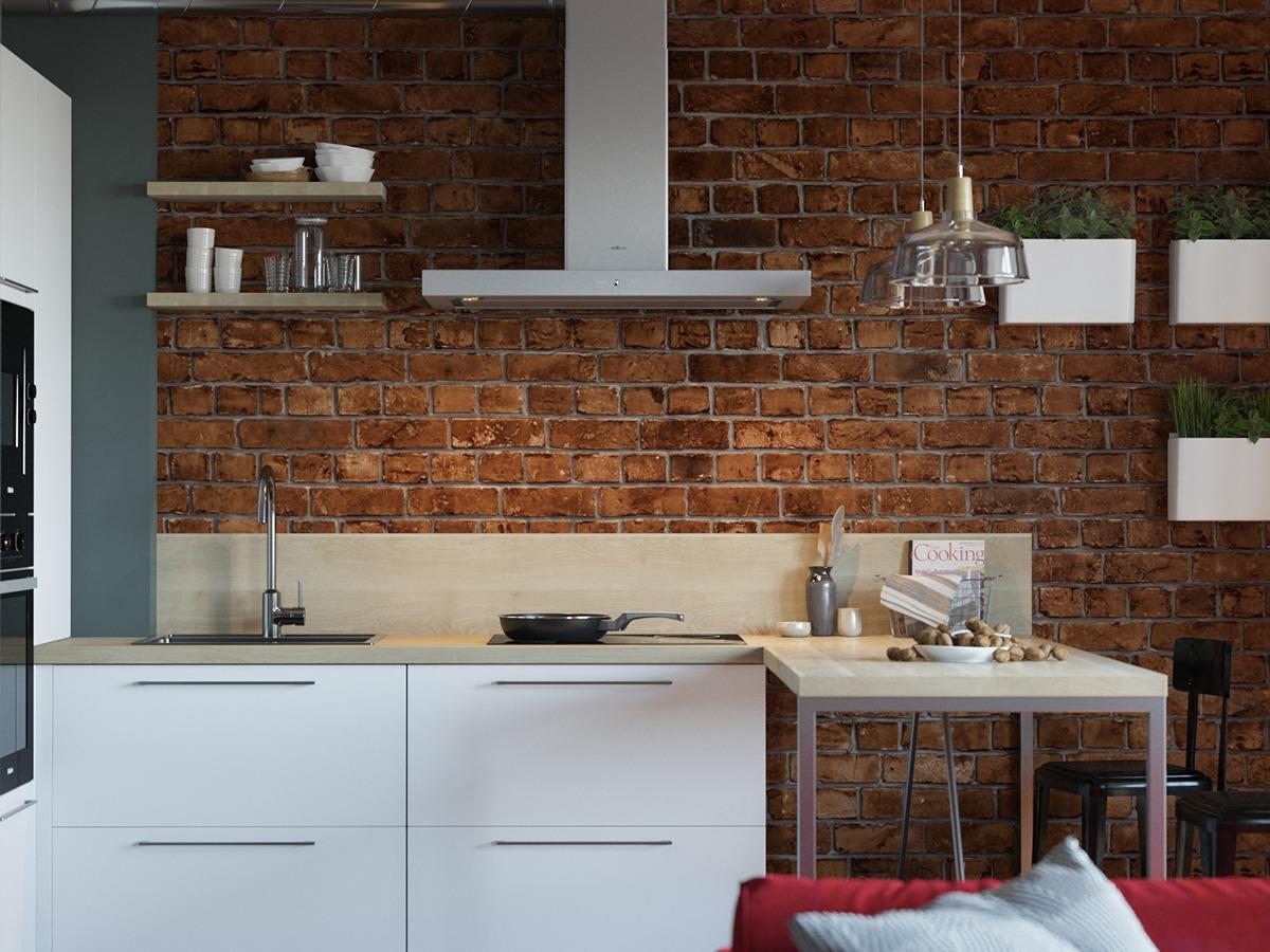 Small Brick Kitchen Interior Design