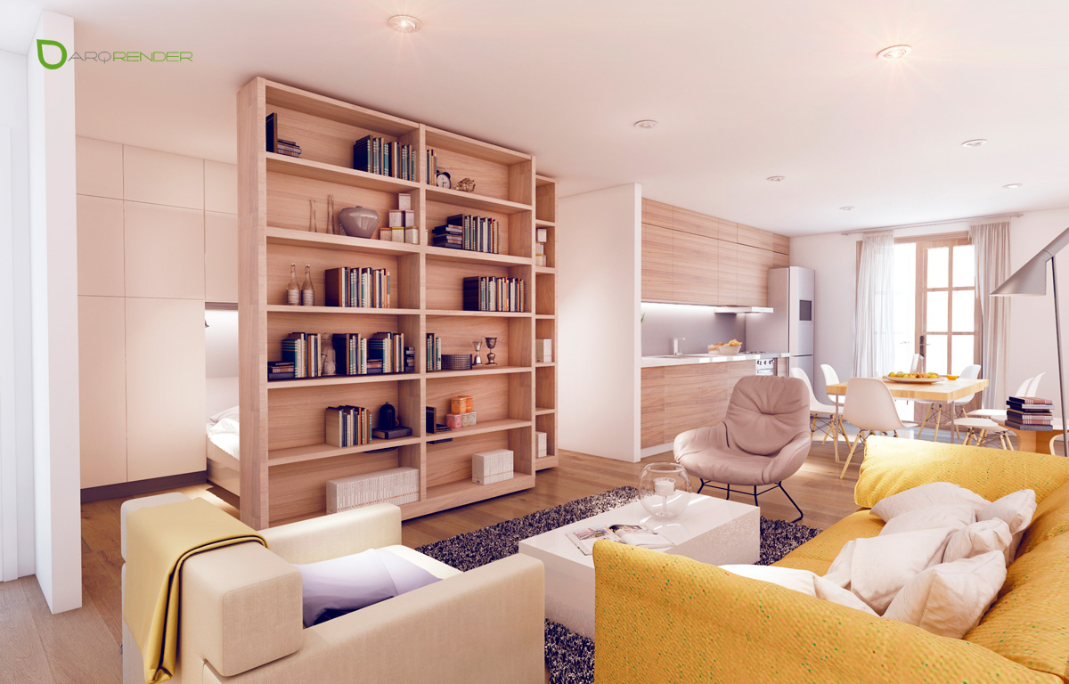 Small Apartments With Cheerful Colorful Accents