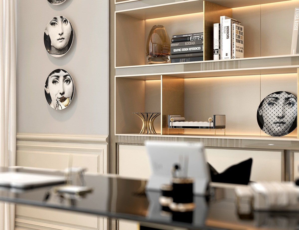 Display Shelves For Collectibles >> A Modern Art Deco Home Visualized in Two Styles