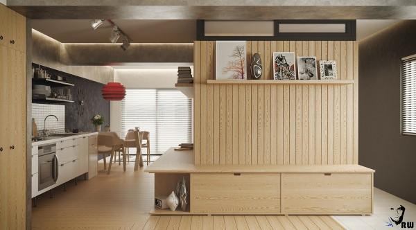 built in studio apartment divider 600x332 - 5 Small Studio Apartments With Beautiful Design