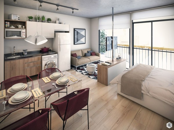 burgundy and gray interior design 600x450 - 5 Small Studio Apartments With Beautiful Design