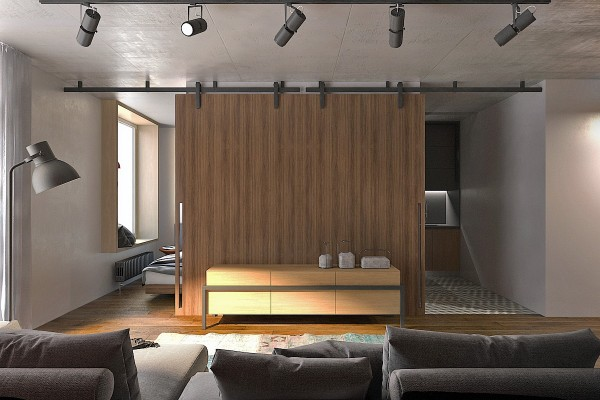 clever sliding doors for studio apartment 600x400 - 5 Small Studio Apartments With Beautiful Design