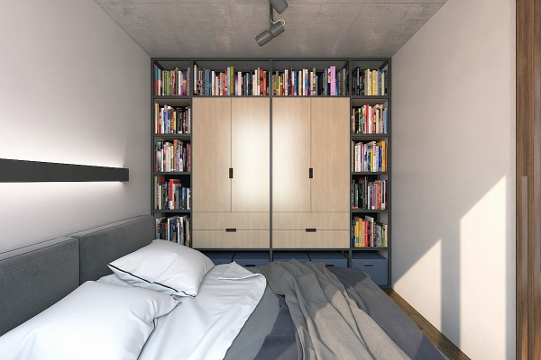 cool bookshelf and wardrobe combination 600x400 - 5 Small Studio Apartments With Beautiful Design