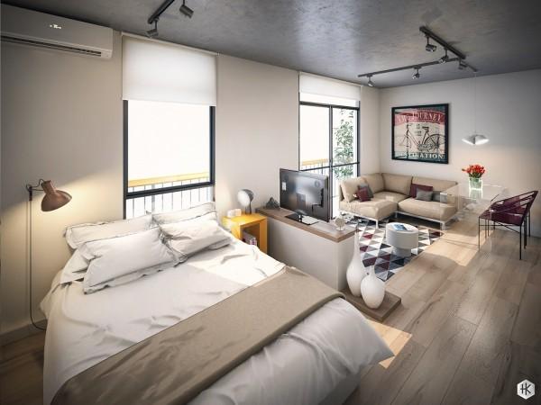 efficient studio apartment layout 600x450 - 5 Small Studio Apartments With Beautiful Design