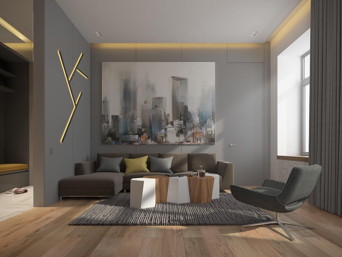 3 one bedroom homes with sharp geometric decor. Black Bedroom Furniture Sets. Home Design Ideas