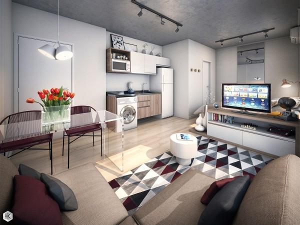 geometric studio apartment decor 600x450 - 5 Small Studio Apartments With Beautiful Design