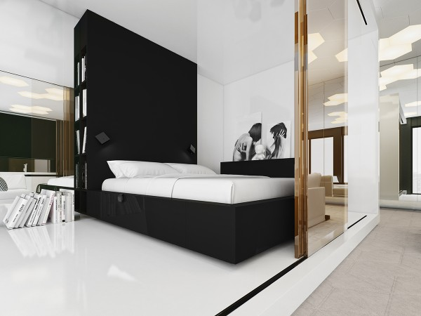 glossy black and white modern bedroom 600x450 - 5 Small Studio Apartments With Beautiful Design