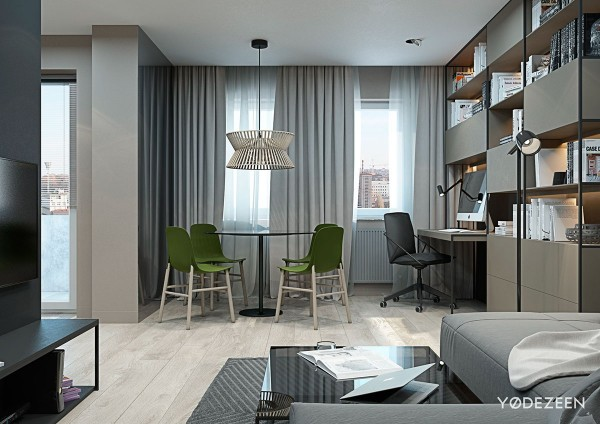 gray and green decor ideas 600x424 - 5 Small Studio Apartments With Beautiful Design