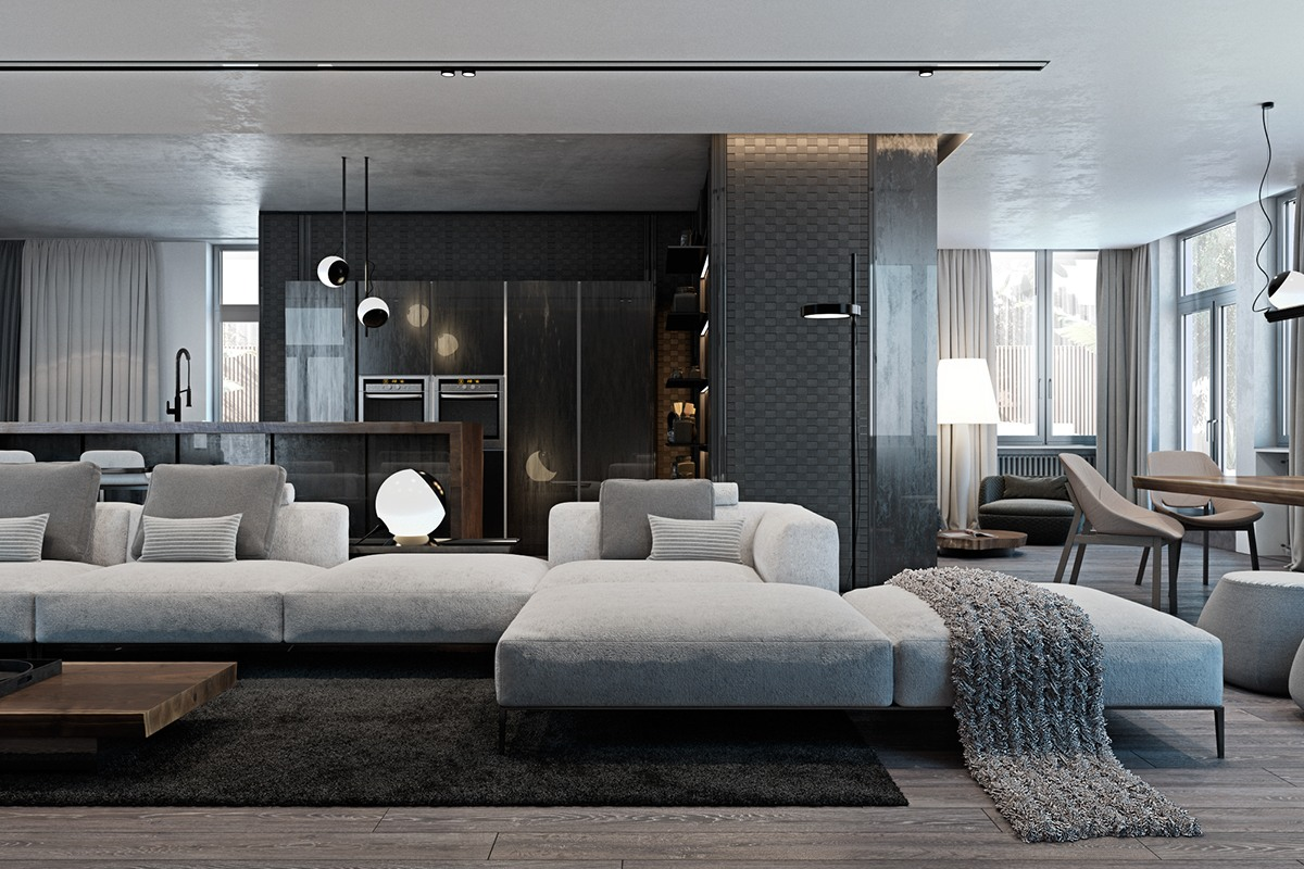A modern flat with striking texture and dark styling - Modern apartment living room ...