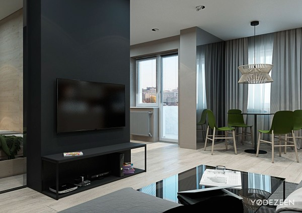 grayscale modern apartment 600x424 - 5 Small Studio Apartments With Beautiful Design