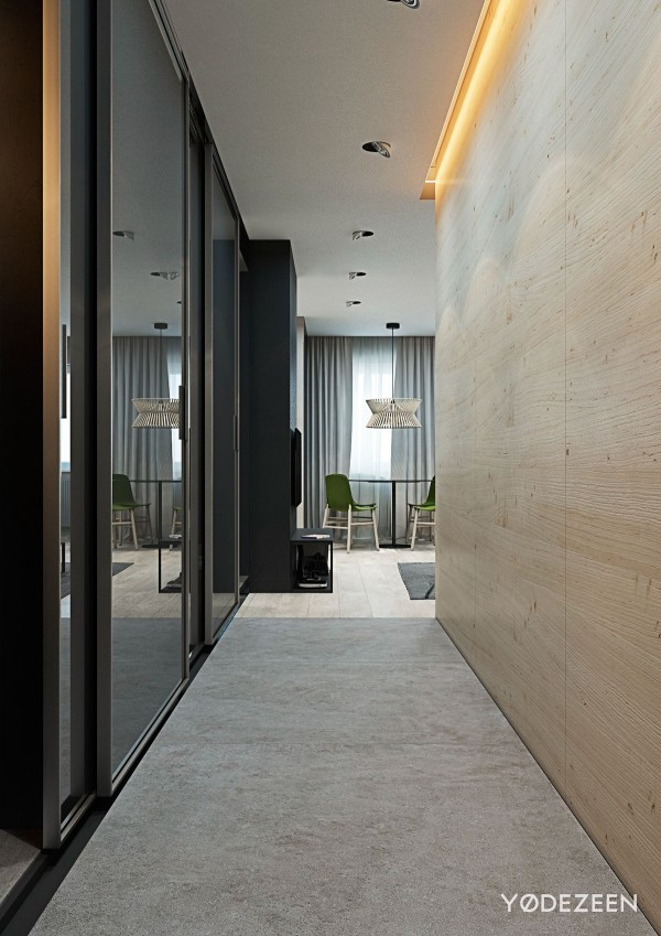 hallway with floor to ceiling mirrors 600x849 - 5 Small Studio Apartments With Beautiful Design