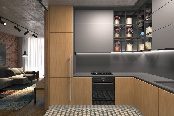 kitchen with jars for dry goods 600x400 - 5 Small Studio Apartments With Beautiful Design