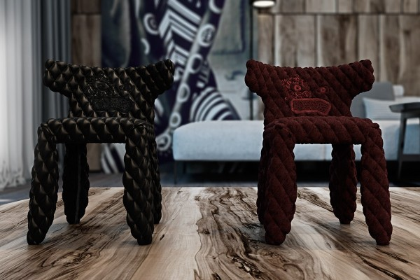 Adorable miniaturized wing chairs still embody the idea of opulence with their diamond tufted leather and velvet upholstery these are from the monster