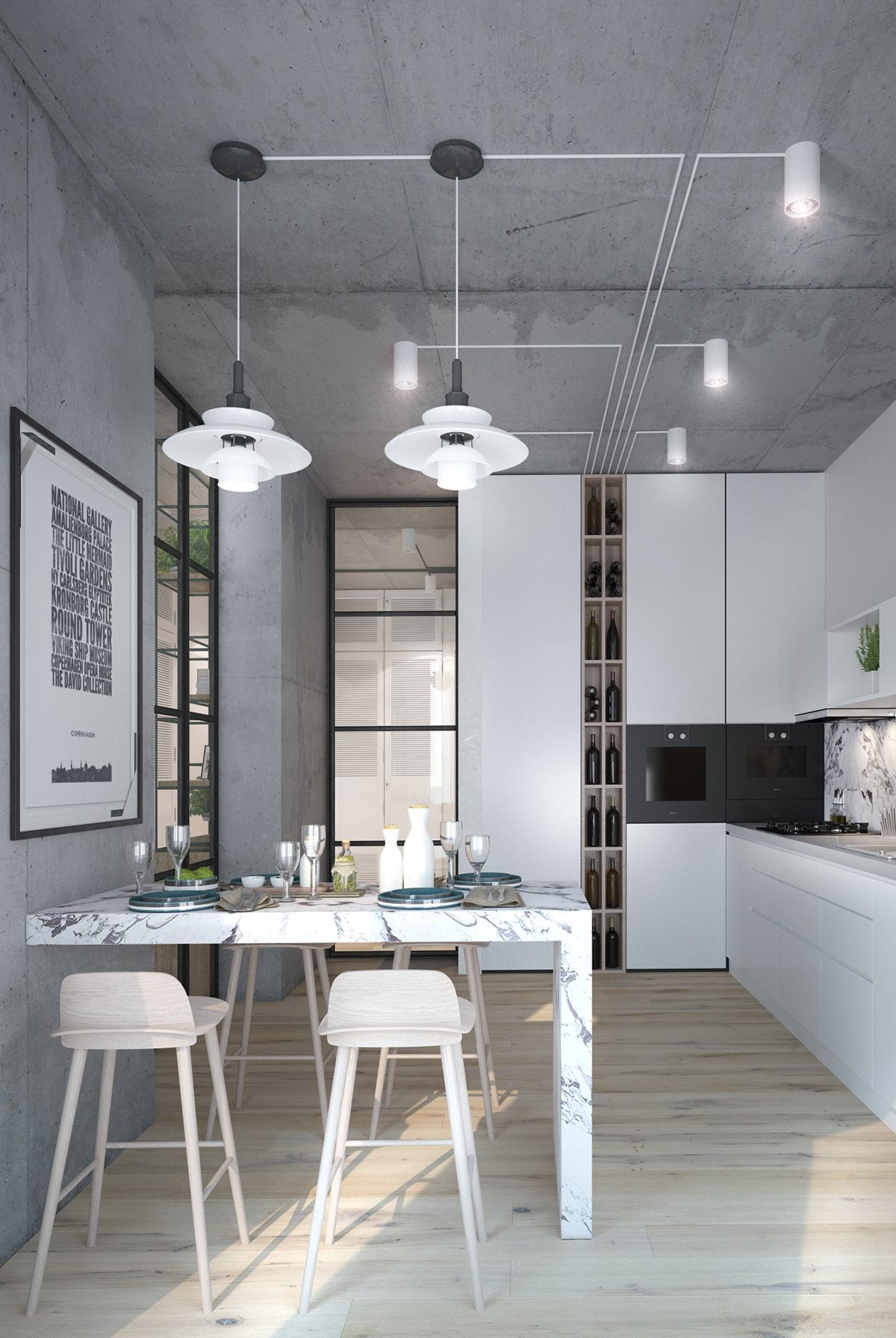New 3 Inspiring Homes With Concrete Ceilings and Wood Floors QT66