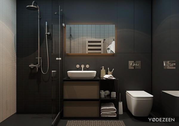 matte black bathroom interior design 600x424 - 5 Small Studio Apartments With Beautiful Design