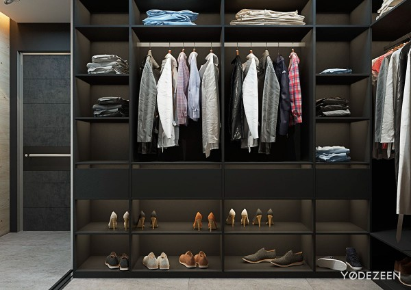 matte black walk in closet design 600x424 - 5 Small Studio Apartments With Beautiful Design