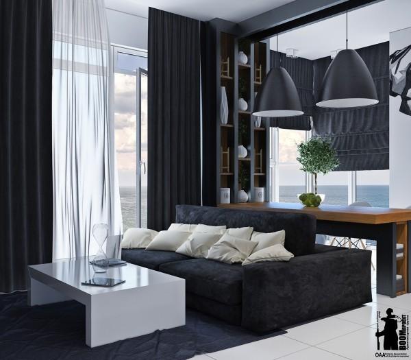 Black Shelf Room Divider