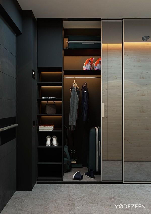 modern closet shelf lighting 600x849 - 5 Small Studio Apartments With Beautiful Design