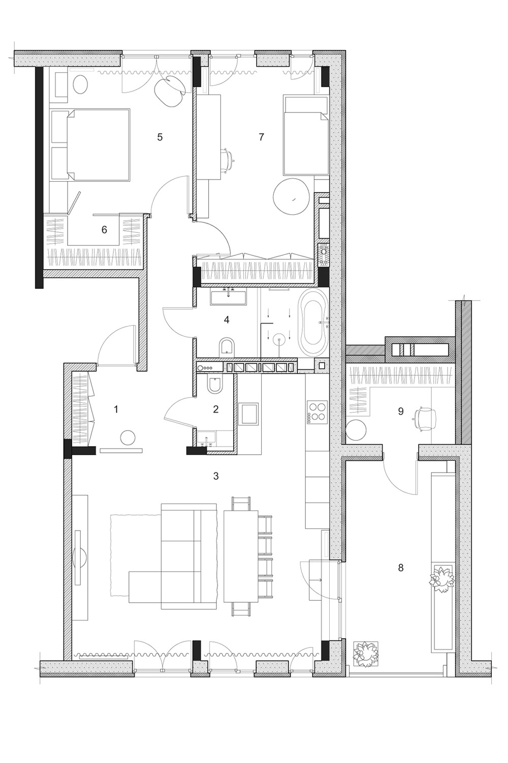 Two modern homes with rooms for small children with floor - Modern home design plans one floor ...