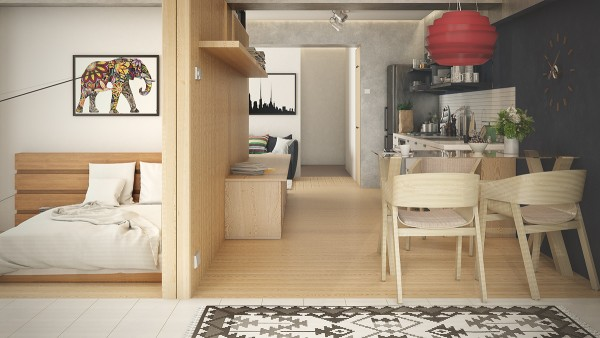 modern wood wall cladding 600x338 - 5 Small Studio Apartments With Beautiful Design