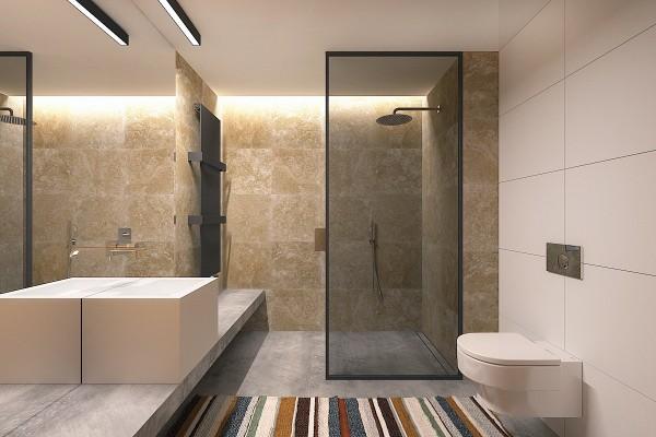 natural modern bathroom materials 600x400 - 5 Small Studio Apartments With Beautiful Design