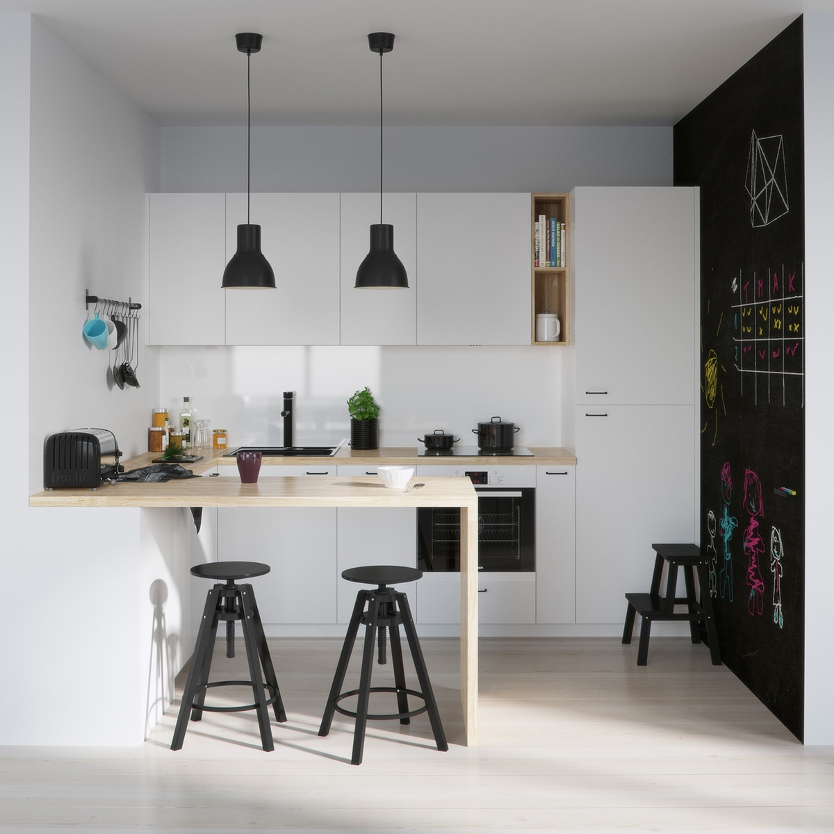 Playful Black White And Wood Kitchen Jpg