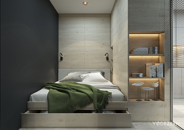 plywood bedroom wall inspiration 600x424 - 5 Small Studio Apartments With Beautiful Design