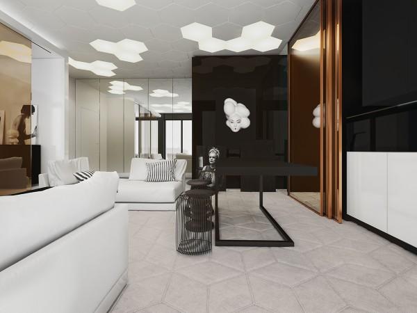 pop art geometric interior design 600x450 - 5 Small Studio Apartments With Beautiful Design