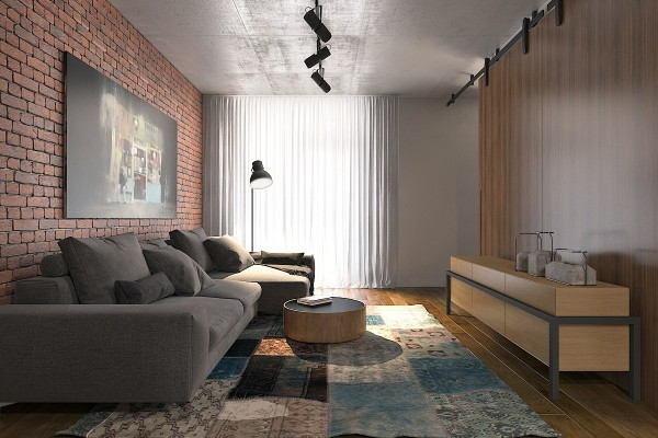 red exposed brick in tiny apartment 600x400 - 5 Small Studio Apartments With Beautiful Design