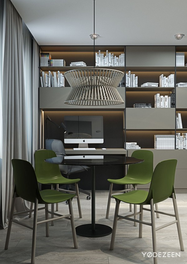 round wood pendant lamp 600x849 - 5 Small Studio Apartments With Beautiful Design