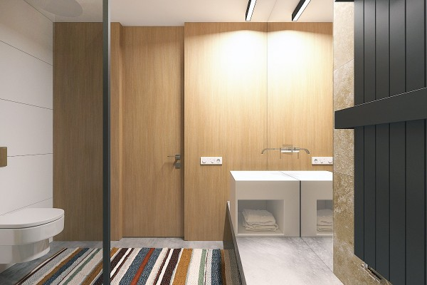 small bathroom with colorful rug 600x400 - 5 Small Studio Apartments With Beautiful Design