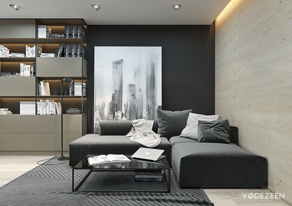small black and white studio apartment 600x424 - 5 Small Studio Apartments With Beautiful Design