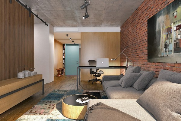 studio apartment with lots of texture 600x400 - 5 Small Studio Apartments With Beautiful Design