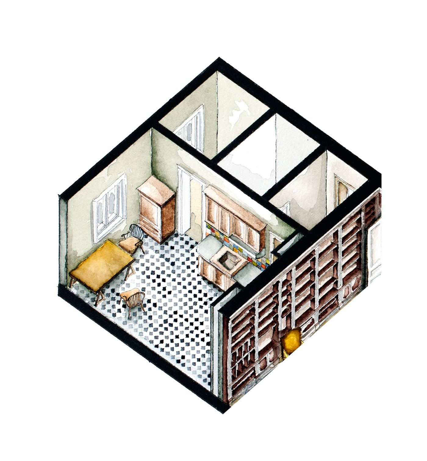 Apartment Film: Watercolor Floorplans From Recent Television Shows And Films