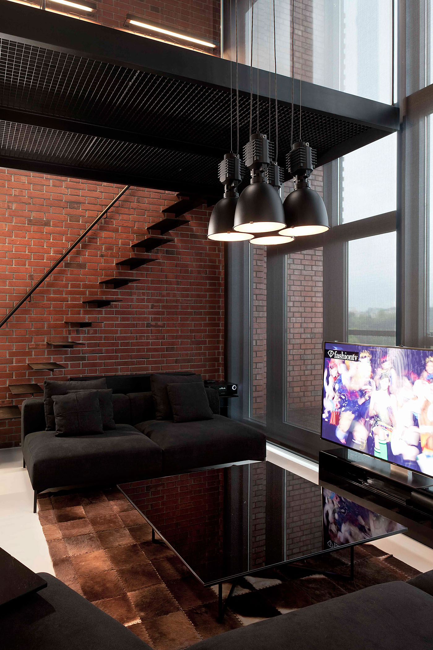 awesome red brick wall interior design | Stylish Exposed Brick Wall Lofts
