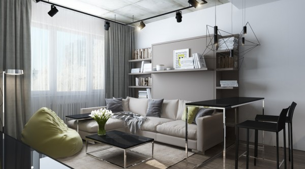 The neutral palettes and smart storage solutions leave plenty of room for a tenant to explore different decor themes
