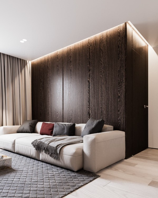 A backdrop of rich dark wood creates more visual drama without adding extraneous decoration