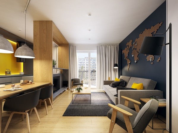 Rather than installing an interior wall the designers chose to divide the living room and kitchen with an open wooden structure that doubles as housing for