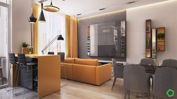 The color accents tend to emphasize the larger pieces of furniture like the breakfast bar and the sofa even the floor to ceiling curtains are aglow with