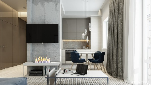 In the dining room cool blueish gray again stands out against the temperature neutral surroundings