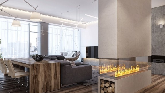 Two apartments with sleek grayscale interiors · a pair of dark