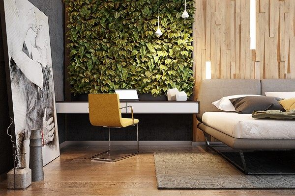 Backlit panels bring out the deep grooves of the accent wall gorgeous even in the daytime