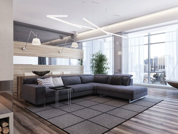 This first apartment concept centers around an incredible view of the city outside but the interior accommodations are equally worthy of admiration