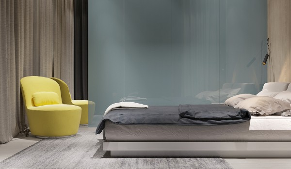 This bedroom weaves natural wood tones and cool grays together to create an uncomplicated yet comfortable refuge