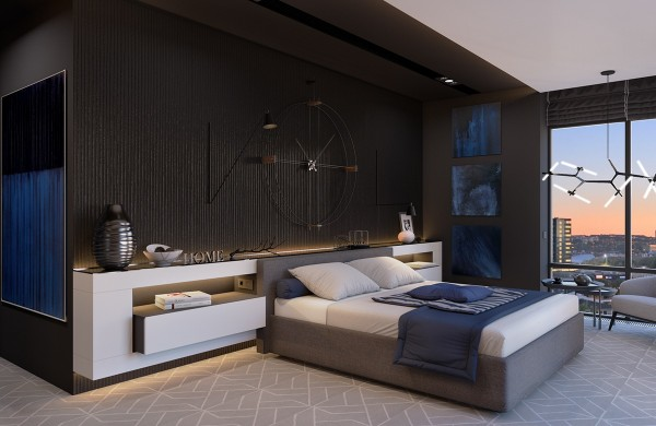 Black interior themes are growing in popularity in any room in the house but its especially practical in the bedroom where a darker atmosphere
