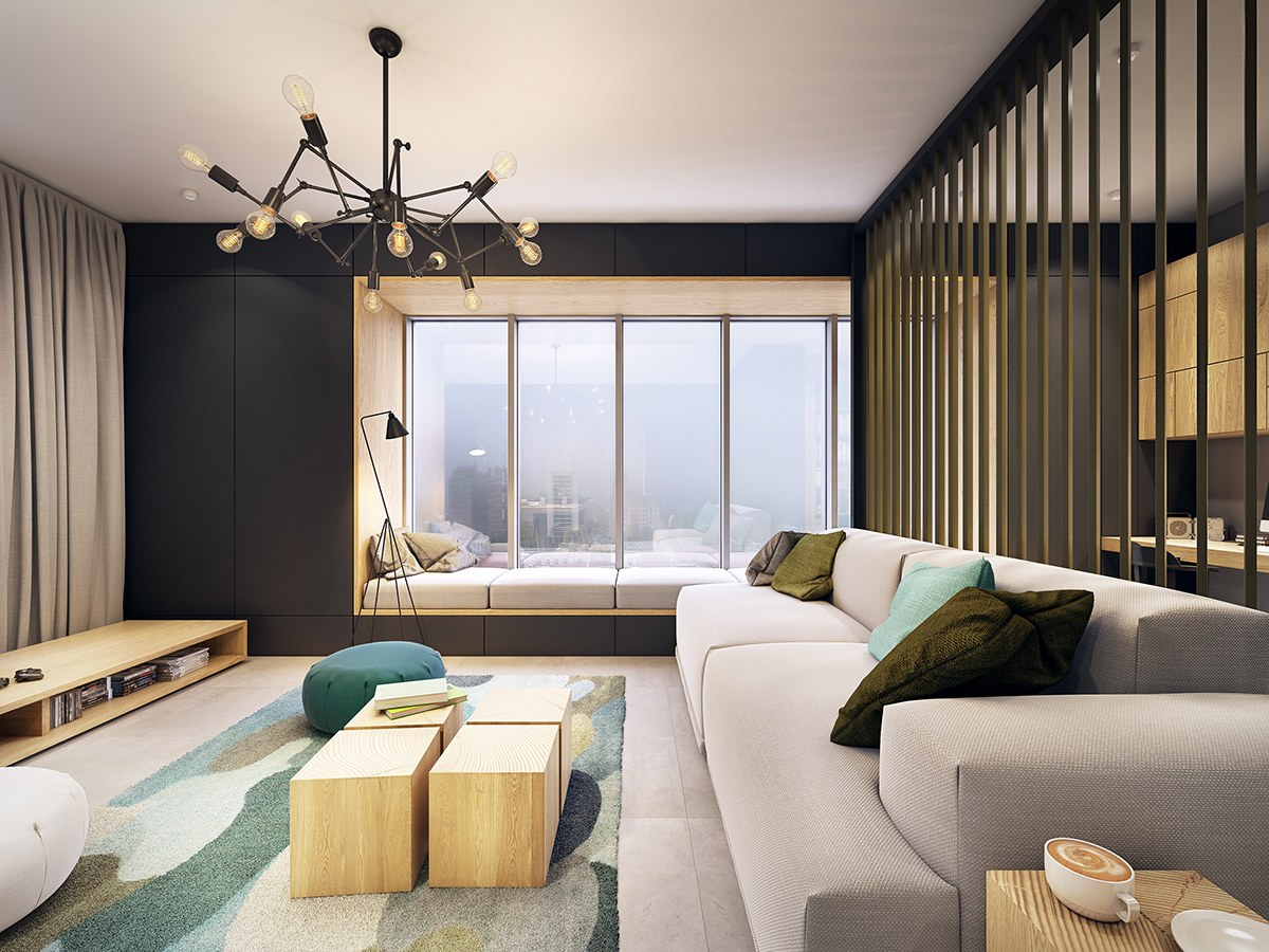 contemporary apartment design.  This Contemporary Apartment Pops With Turquoise Accents