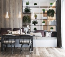 Open-face shelving serves as a smart and stylish way to share the indoor garden between the dining room and the living area; it also creates a screen without totally closing in either space.