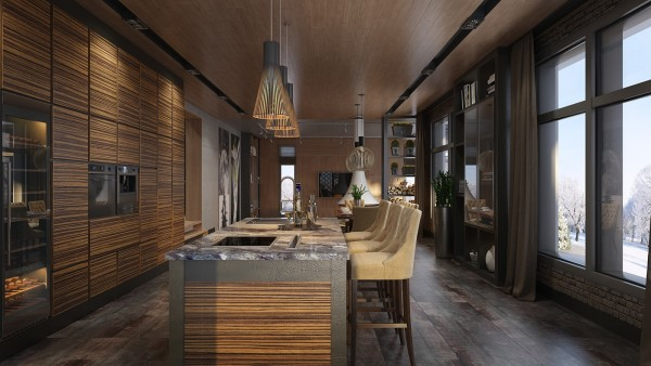 Exotic wood paneling gives the kitchen a very intimate vibe extremely luxurious paired with the gorgeous marble countertop