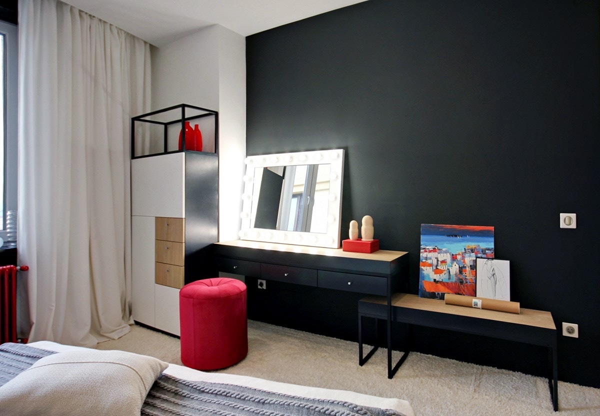 Red And Blue Two Colorful Apartments Under 75 Square Meters